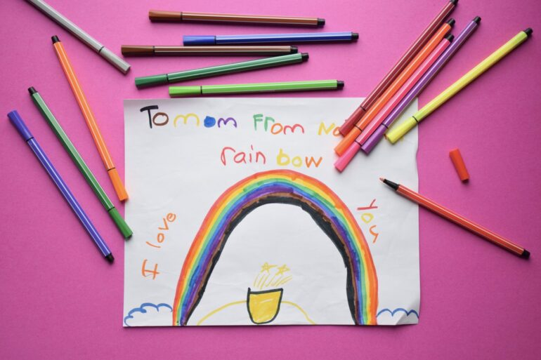 Handmade happy Mother's Day card with a rainbow